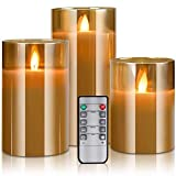 "LED Flameless Candles Flickering with Remote Control and Timer, 4"" 5"" 6"" Set"