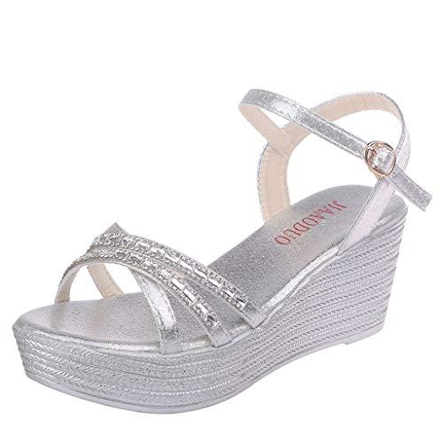 Sandalias Mujer Verano 2019 riou Bohemia Cinturón de Diamantes de imitación con cuña y Zapatillas Abiertas de Playa Zapatillas y Chanclas para Mujeres Zapatos Vestir de Fiesta riou