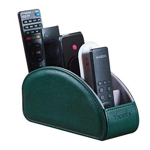 Leather Remote Control Holder for Table, 5 Compartments TV Remote Caddy, Bedside Desk Organizer for DVD, Media, Blu-Ray, Heater Controllers, Mobile Phone, Glasses and Office Supplies Storage (Green)