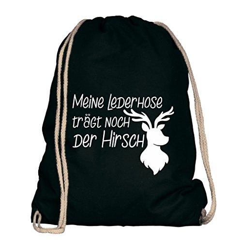 Shirtdepartment® Turnbeutel für das Oktoberfest   Farbe: Schwarz-Weiss Meine Lederhose trägt noch der Hirsch   Wiesn 2018   Lederhose   Dirndl   Bayrisch   Bayern   Jutebeutel   Spruch   Design