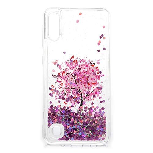 A10 Hülle, Glitzer Treibsand Handyhülle für Samsung Galaxy A10 Flüssig Bewegende Handytasche Fließend Flüssigkeit Schale Transparent Weich TPU Bumper Funkeln Quicksand Hardcase Blumenbaum
