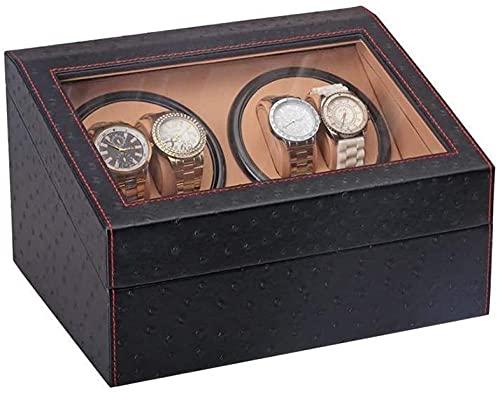 LONGJIQ Caja de enrollador de Reloj Negro 4 + 6 con Motor silencioso en Carcasa de Madera y Cuero de PU Fit Dama y Hombre Relojes automáticos-A Fantastic