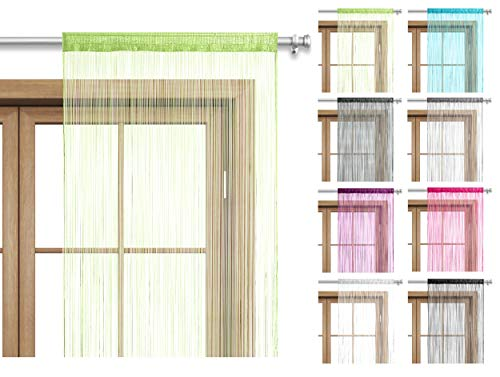 wometo Fadenvorhang Türvorhang 90x245 Stangendurchzug Schlaufe - waschbar (apfelgrün)