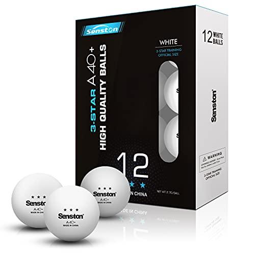 Senston Palline da Ping Pong, Palline da Ping Pong a 3 Stelle, Dimensioni Ufficiali da 40mm, (Confezione da 12 o 24) Palline da ping pong per allenamento avanzato (bianche)