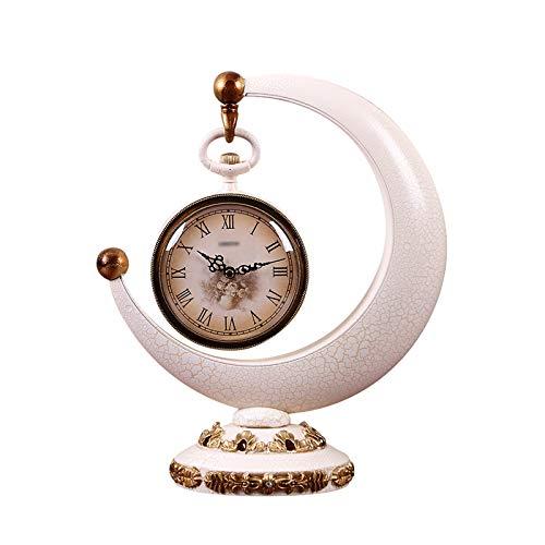 Xiaokeai Creatividad Número Romano Tablero de Mesa Decoración del hogar Decoración de la Creciente Reloj de Escritorio con batería Blanco Blanco Tabla de plástico Reloj de Mesa 14.9 Pulgadas