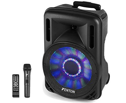 Fenton FT12LED - 12 Inch Mobiele Speaker op Wielen 700 Watt met Ingebouwde Accu, LED, Draadloze Microfoon, Bluetooth, USB/SD MP3 Speler, Afstandsbediening