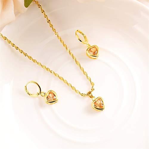 Conjuntos de joyas de cristal de las mujeres conjuntos de joyas de pendiente de zircon cúbico (Metal color : Large)