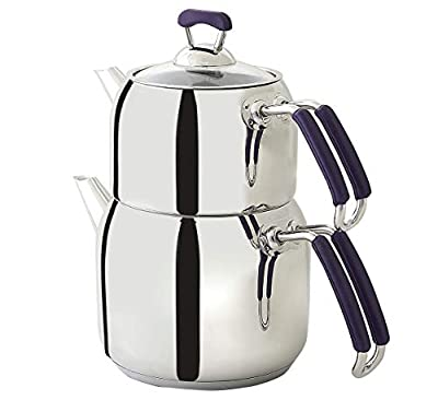 Turkish Teapot Set Stainless Steel Tea Maker Medium Size Caydanlik with FREE set of 6 Tea Saucers