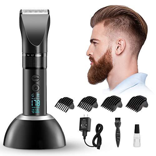 Liaboe Cortapelos Hombre,Cortapelos Profesional con pantalla LED Máquina Cortar Pelo Inalámbrico con Pantalla LED inteligente, Recortador Pelo Barba Kit para Familia.