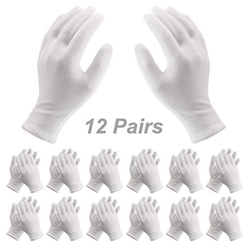 Redmoo Baumwollhandschuhe,12 Paar Weiße Handschuhe Baumwolle, Größe XL, Stoff Handschuhe Weiss, Bequem und Atmungsaktiv, für Hautpflege, Schmuck Untersuchen, Tägliche Arbeit usw