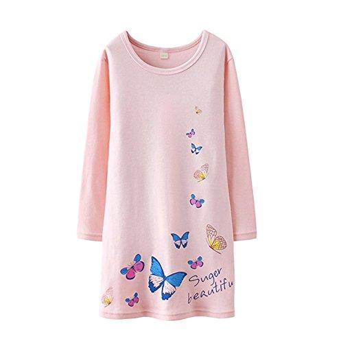 HOYMN Schwan Nachthemden für Mädchen Langarm Nachthemd für Herbst-Winter 100% Baumwolle Grün (1-2 Jahre, Rosa Schmetterling)