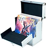 Retro Musique Aluminium 12' Vinyl Record LP Storage Case with unique folding front flap for better access to your LPs