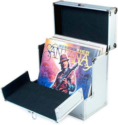 Retro Musique, Aluminium-Box zur Aufbewahrung von Schallplatten (12 Zoll), mit einzigartiger zusammenklappbarer Klappe für besseren Zugang zu Ihren LPs