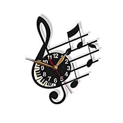 Treble Clef Wall Clock -Select Size, Personalization- Note Stave Staff Musician's Modern Melody Sheet Music Gift Wooden Wall Art Décor