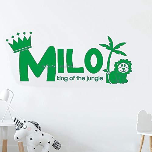 yaoxingfu 60 * 25cm Little Lion Etiqueta de Pared con Nombre Personalizado para Habitaciones de niños Letras de Vinilo en la Pared Palabras Nursery King of Jungle Animal Decor LC WW-5 60cm x 25cm