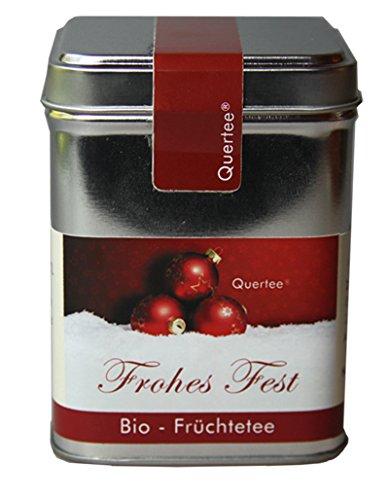 """Quertee® - Biotee Weihnachtstee - """"Frohes Fest"""" - Früchtetee in einer Teedose - 100 g - Loser Tee zu Weihnachten"""