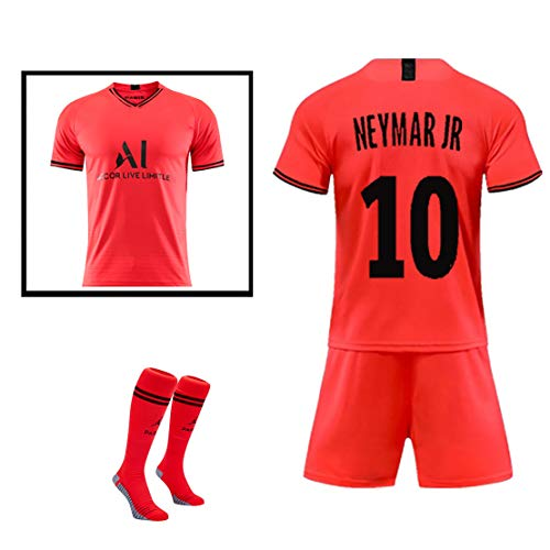 WWLONG Zomervoetbaluniform 10. NEYMARJR 7.MBAPPE voetbal sportkleding, volwassen kinderen trainingspak + sokken, kan worden aangepast