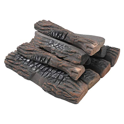 Stanbroil Large 10 Piece Set of Decoration Ceramic Wood Logs for All Types of Ventless, Gel, Ethanol, Electric,Gas Inserts, Propane, Indoor or Outdoor Fireplaces & Fire Pits