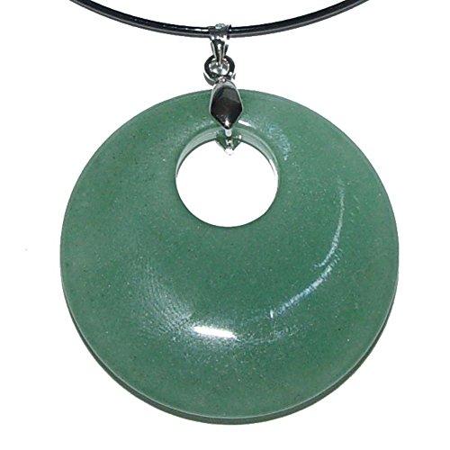 Aventurin grün Anhänger rund mit silberfarbenem Clip 40mm Durchmesser schöne flache ausgesuchte Einzelstücke.(2850)