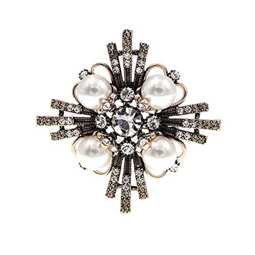 Broches de cruz de cristal para las mujeres vintage perla moda Pin invierno barroco joyería