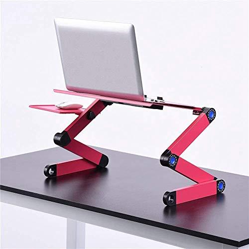 TECHIM Laptop Stand for Desk - Adjustable Laptop Stand - Portable Laptop Riser Workstation Notebook Stand Reading Holder - Ergonomic Laptop Desk TV Bed Tray Standing Desk Pink