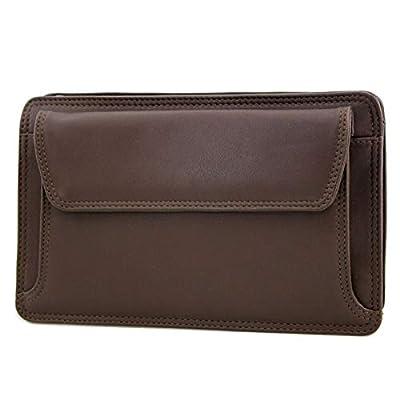 LIVAN® - L4011 - Sac Sacoche à main Vide poche à glissière - 2 soufflets - CUIR Véritable - Homme