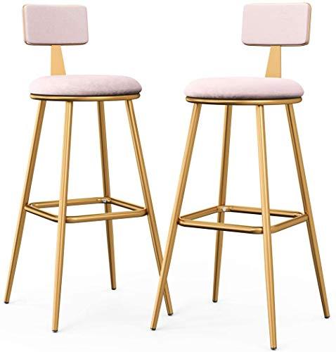YRRA Juego de 2 taburetes de bar de terciopelo con respaldo de 76 cm tapizados para barra de comedor y sillas de altura – Marco de metal dorado / reposapiés para cocina, sala de estar (rosa)