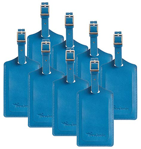 8 Pack Leather Luggage Travel Bag Tags by Travelambo Blue