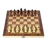 REAPP Tablero de Damas Ajedrez Plegable de Madera Tres Traje de ajedrez Placa de ajedrez de Madera Chess Checkers Traje Backgammon Traje Juego de ajedrez Juego (Color : Marrón, Size : 34x34cm)