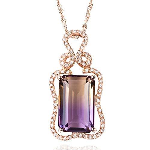Accesorios Collar de Amatista y Citrino Piedra Colgante for Las Mujeres de Oro Rosa de Tono Grandes Diamantes de Piedras Preciosas Grandes de Cristal de circón Regalos Bijoux Regalo