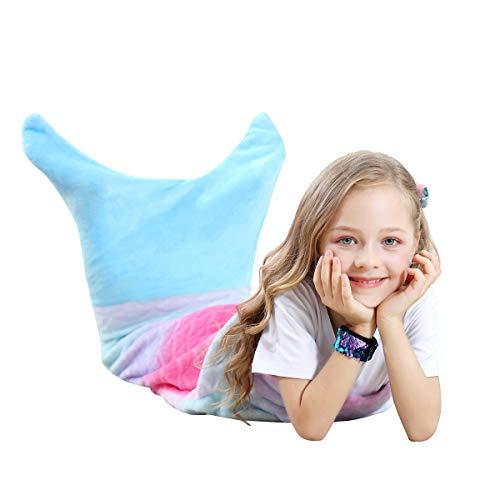VHOME Zeemeermin Deken voor Kinderen - Perfect Gepersonaliseerde Warme Woonkamer Sofa Deken Slaapzak Speelgoed Kinderen voor Kerstmis Verjaardagscadeau Kinder (V2-Blauw, 120cm x 48cm)