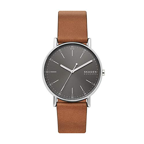 Skagen Men's Signatur Quartz Analog Stainless Steel and Leather Watch, Color: Brown/Gray (Model: SKW6578)