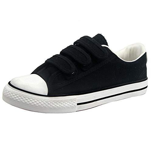 zpllsbratos Zapatillas de Lona Bajos Velcro Mujer Sneaker Casuales Deportivo Negras Blancas(Negro 01,36)