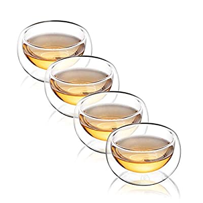 CnGlass Double Wall Glass Tea Cup Set of 4?3.4oz 100ML?Asian Insulated Clear Teacups,Small Espresso Cup for Coffee