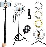 Fullwatt LED Ringlicht 26cm, Dimmbare Ringleuchte, Bluetooth-Fernbedienung, RGB, 10 Helligkeit mit...