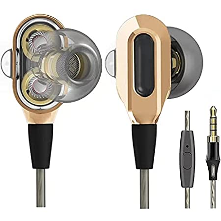 LTXHorde in-Ear Headphones with Microphone, Wired Earbuds Stereo Headset Deep Bass Dual Drivers Headphones Compatible with Devices with 3.5 MM Audio Interface(Gold)