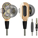 LTXHorde Wired Earbud with Microphone, Strong Bass Dual Driver Speakers, Comfortable in-Ear Headphones Suitable for Devices with 3.5mm Audio Jack(Gold)