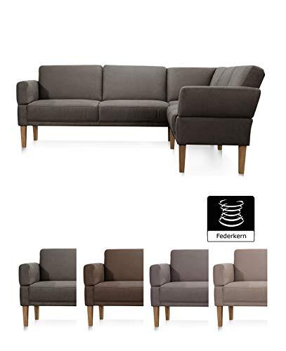 Cavadore Sitzecke Femarn mit Ottomanen rechts, Polsterecke für Küche oder Esszimmer mit Federkernpolsterung, 254 x 98 x 195 cm, Mikrofaser Lederoptik dunkelgrau