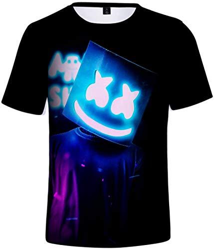 OLIPHEE Camisetas con 3D Impresa de Anime de DJ Music Personalidad para Hombre Logo-S