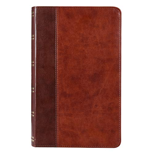 KJV Holy Bible, Giant Print Standard Bible, Two-Tone Brown Faux Leather Bible w/Ribbon Marker, Red Letter Edition, King James Version