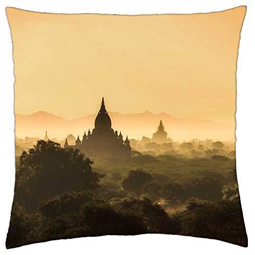 LESGAULEST Throw Pillow Cover (18x18 inch) - Myanmar Burma Landscape Sunrise Morning Haze Mist