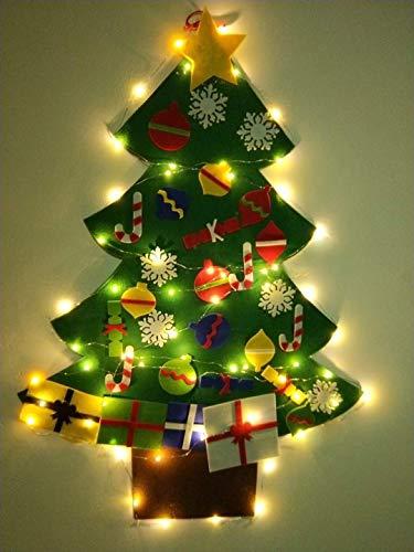 BURST 3.2 Ft Felt Wall Hanging Christmas Trees Set with 50 LED Lights Christmas Tree Xmas Ornaments