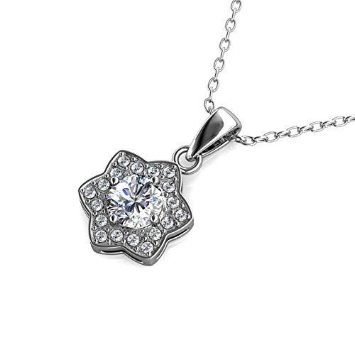 Silber-Kette Anhänger |Hals-Schmuck | Mit Swarovski Steinen | 925 Sterling Silber | Vergoldet mit 18K Weißgold | Princess