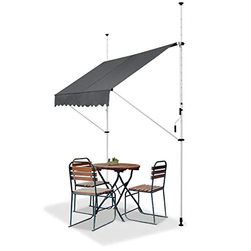 ArtLife Klemmmarkise Kuwait 300 x 120 cm – höhenverstellbar - Markise mit Handkurbel - ohne Bohren - Balkonmarkise Sonnenschutz Balkon - Grau