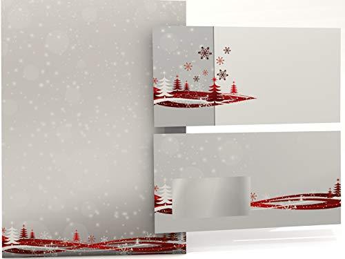 Weihnachtsbriefpapier Set | Fest der Liebe | 50 Blatt Motivpapier A4 | 50 Briefumschläge OHNE FENSTER im DIN LANG-Format | Briefpapier Set