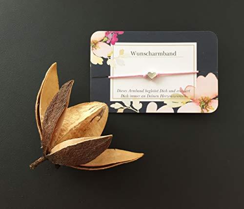Wunscharmband Herzchen, Freundschaftsarmband, Gastgeschenk, Anzahl + Farbe wählbar