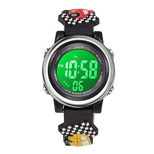 Boys Watches Ages 3-10 Digital, Kids Sports Waterproof 3D Cartoon Outdoor LED Electrical Watch for Kid Gifts with Luminous Alarm Stopwatch Toddler Wristwatch for 3-12 Year Old Little Child Black Car