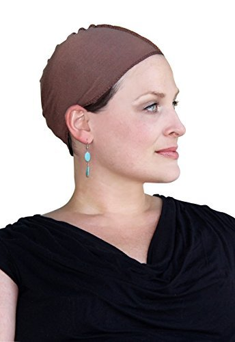Cancer Headwear for Women Bamboo Wig Cap Hat Liner Chemo Moisture Wicking Brown