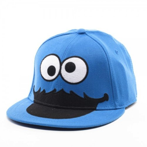 Bioworld Sesame Street Cookie Monster Face Fitted Flat-bill Hat Blue One Size