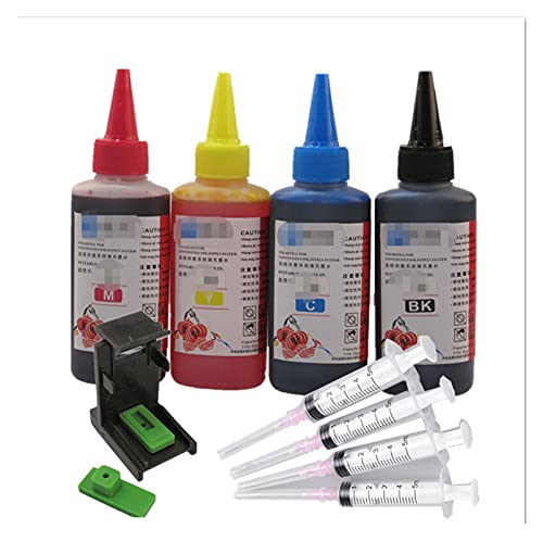 DHTENG® Kit de recarga de tinta para HP301 XL para HP140 141 Para HP300 Para HP 302 Para HP121 Para HP122 Para HP650 Para HP652 Para HP651 XL Cartucho de tinta para HP 304 XL Tinta de impresora 4x100m